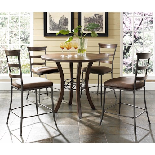 Morris Home Furnishings Cameron 5 Piece Round Counter Height Table & Ladder Back Stools Set