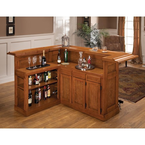 Morris Home Furnishings Classic Oak 625 Large Oak Bar with Side Bar