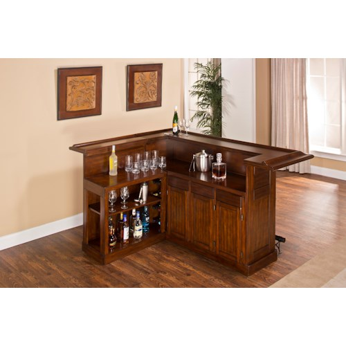 Morris Home Furnishings Classic Oak 625 Large Brown Cherry Bar with Side Bar