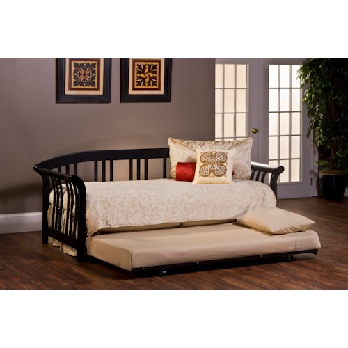 Morris Home Furnishings Daybeds Dorchester Black Daybed with Suspension Deck and Trundle Bed in a Sleigh Design