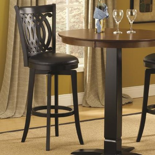 Hillsdale Dynamic Designs 30 Inch Swivel Bar Stool with Upholstered Seat and Designed Back