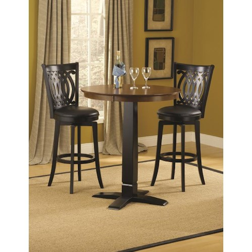 Morris Home Furnishings Dynamic Designs Bar Height Bistro Table and Swivel Chairs