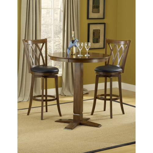 Morris Home Furnishings Dynamic Designs 3-Piece Bar Table and Brown Cherry Finished Upholstered Bar Stool Set