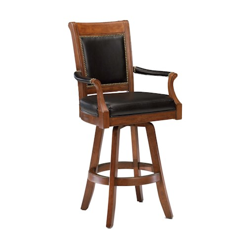 Hillsdale Game Stools & Chairs Kingston Game Swivel Leather Back Barstool