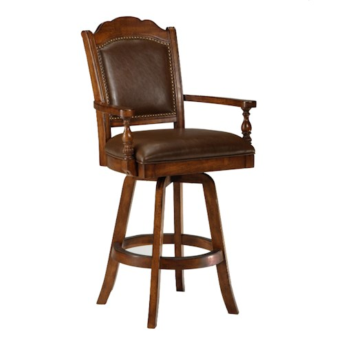 Morris Home Furnishings Game Stools & Chairs Naussa Swivel Leather Game Bar Stool