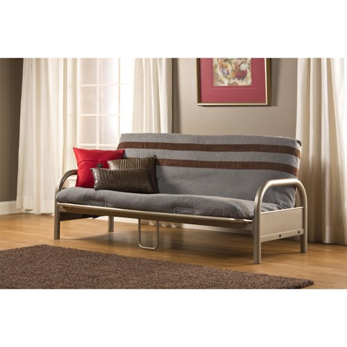 Hillsdale Geneva Full Futon with Sleek Curved Arms