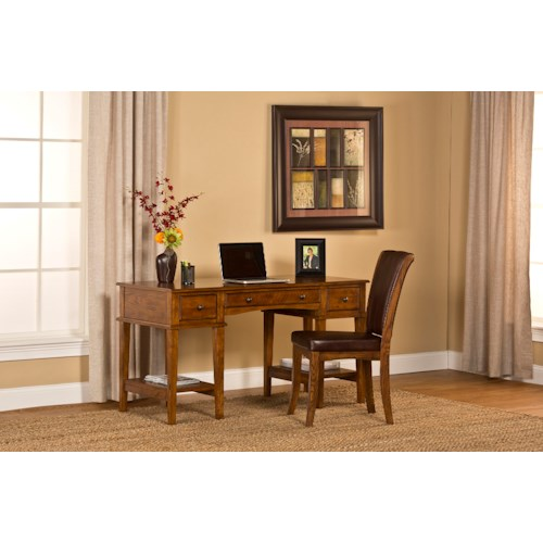 Morris Home Furnishings Gresham Three Drawer Desk and Upholstered Chair Set