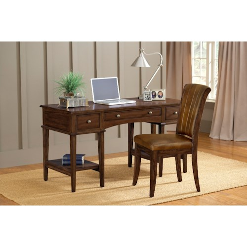 Hillsdale Gresham Three Drawer Desk and Upholstered Chair Set