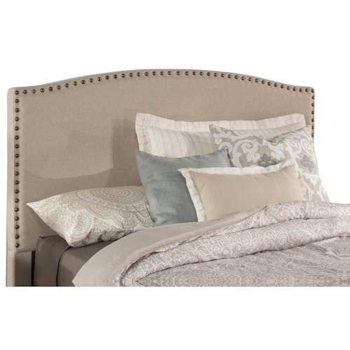 Morris Home Furnishings Kerstein Queen Fabric Headboard with Nail-head Trim