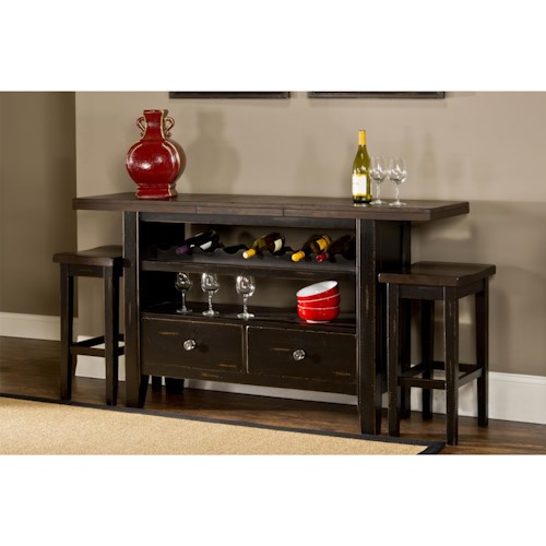 Hillsdale Killarney 3 Piece Server and Stool Set