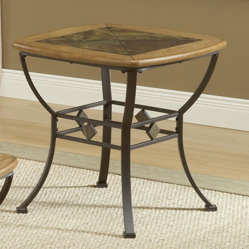 Morris Home Furnishings Lakeview End Table with Wood/Slate Top