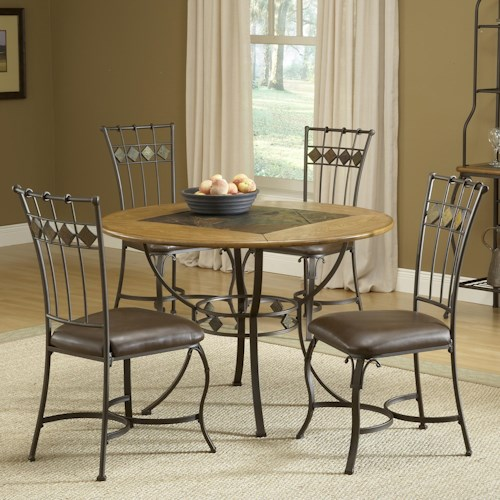 Morris Home Furnishings Lakeview 5-Piece Round Dining Set w/ Slate Chairs