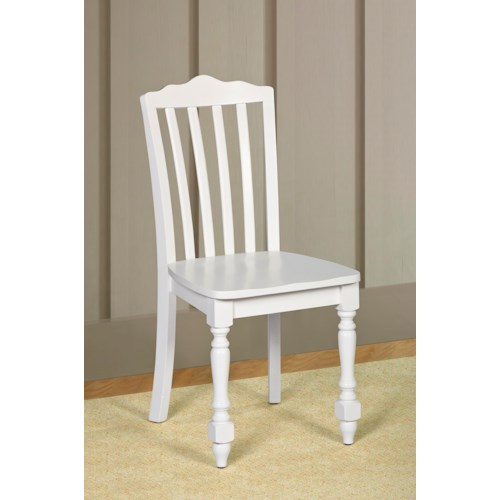 Morris Home Furnishings Lauren  White Chair with Scalloped Back