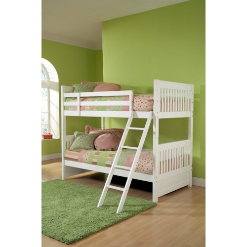 Hillsdale Lauren  Twin Bunk Bed with White Finish