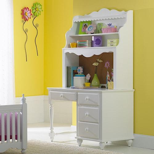 Morris Home Furnishings Lauren  Single Pedestal Desk & Hutch