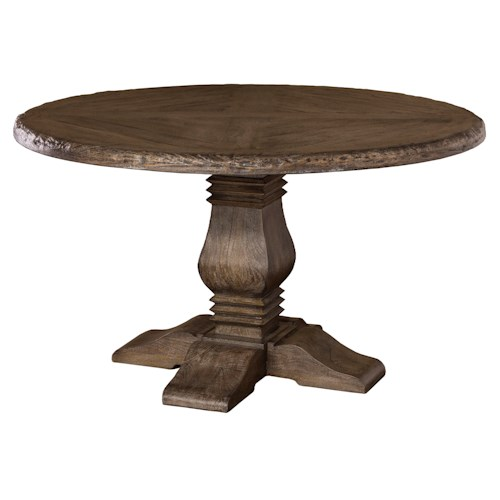 Morris Home Furnishings Lorient Round Dining Table with Pedestal Base