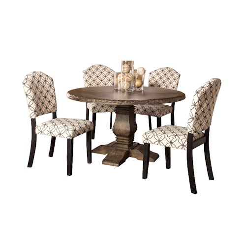 Hillsdale Lorient 5-Piece Round Dining Set with Parsons Chairs