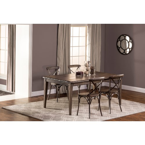 Hillsdale Lorient 5-Piece Rectangle Dining Set with X Back Dining Chair
