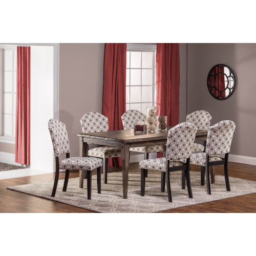 Hillsdale Lorient 7-Piece Rectangle Dining Set with Parsons Dining Chair