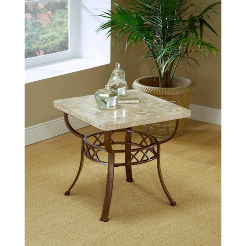 Morris Home Furnishings Occasional Tables Brookside Fossil End Table with Stone Top