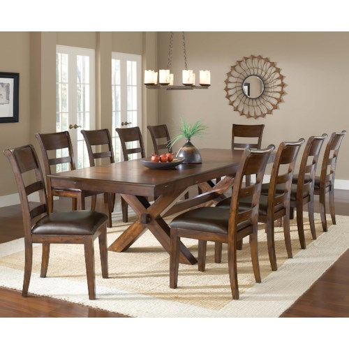 Morris Home Furnishings Park Avenue 11 Piece Trestle Table and Chair Set
