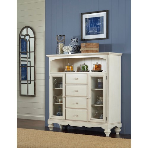 Morris Home Furnishings Nantucket Bakers Rack with 4 Drawers, 2 Doors, and an Open Shelf
