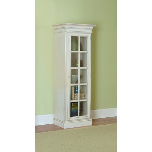 Hillsdale Pine Island Small Library Cabinet with 1 Glass Door and 5 Shelves
