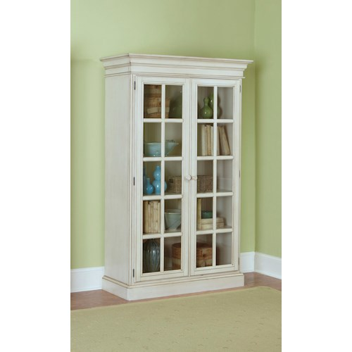 Morris Home Furnishings Nantucket Large Library Cabinet with 2 Glass Doors and Crown Molding
