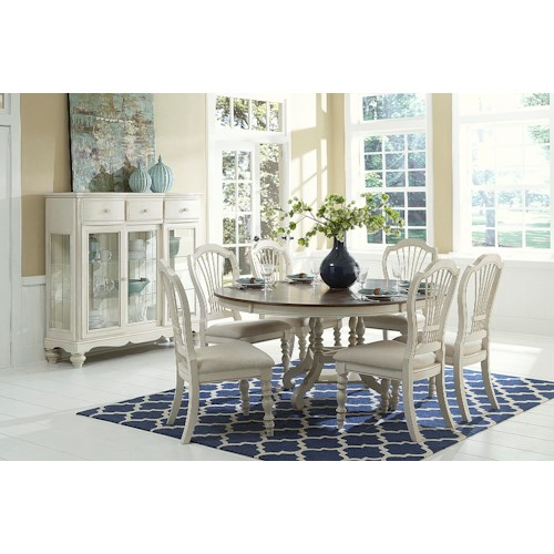 Morris Home Furnishings Nantucket 7 Piece Round Dining Set with Wheat Back Side Chairs
