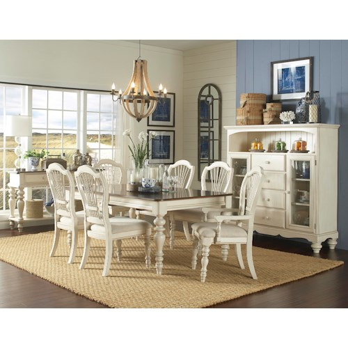 Hillsdale Pine Island 7 Piece Dining Set with Wheat Back Arm and Side Chairs
