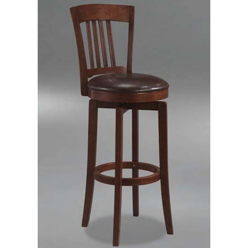 Hillsdale Plainview Canton Swivel Barstool with Leather Seat