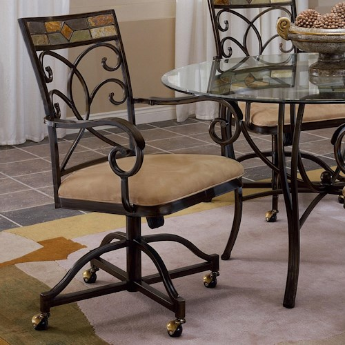 Morris Home Furnishings Pompei Slate Accented Dining Chair with Casters