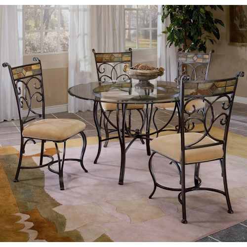 Morris Home Furnishings Pompei Scrolling 5 Piece Dining Set