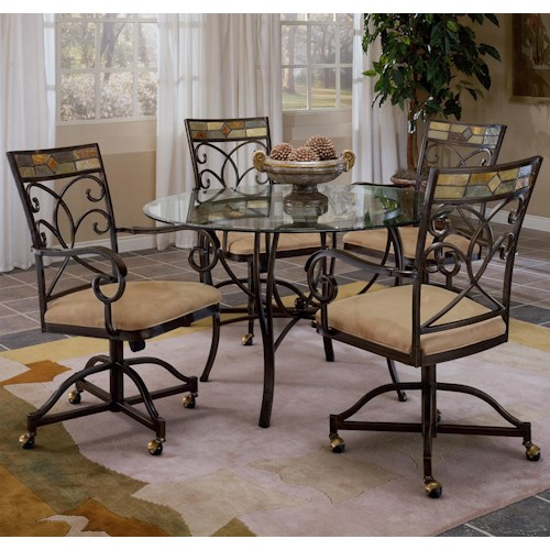 Morris Home Furnishings Pompei Scrolling 5 Piece Dining Set with Casters