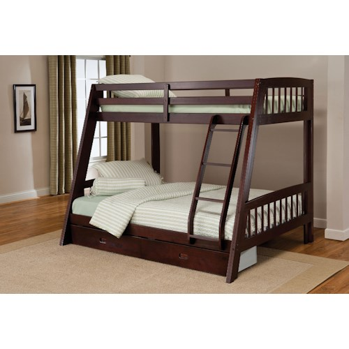 Morris Home Furnishings Rockdale Twin-over-Full Bunk Bed with Storage Drawer