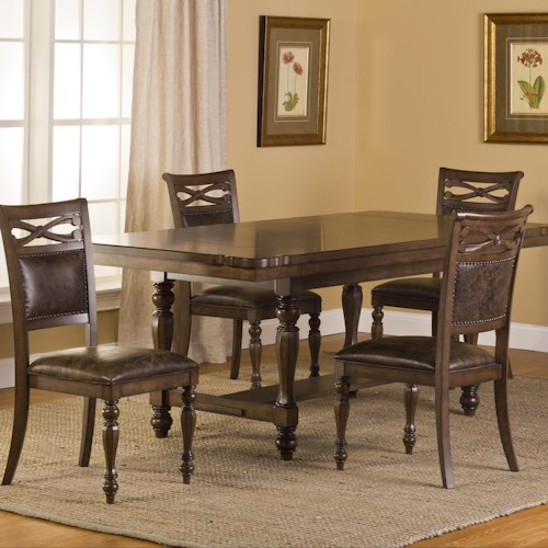 Morris Home Furnishings Seaton Springs 5 Piece Dining Set with Two-Paneled Back Side Chairs