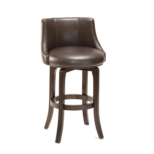 Hillsdale Napa Valley Stools Napa Valley Swivel Counter Stool with Brown Leather Upholstery