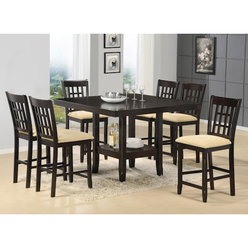 Morris Home Furnishings Tabacon 7-Piece Counter Height Gathering Table w/ Wine Rack Dining Set