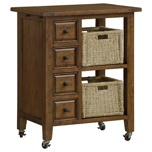 Morris Home Furnishings Tuscan Retreat Two Basket Kitchen Cart with Pine Finish
