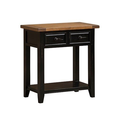 Hillsdale Tuscan Retreat Hall Table with Shelf and 2 Drawers with Tapered Feet