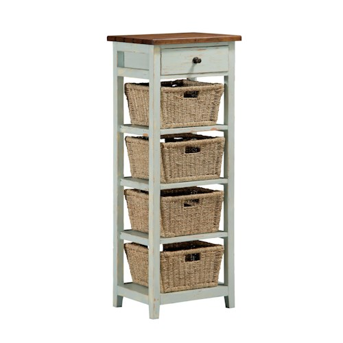 Hillsdale Tuscan Retreat Side Stand with 1 Drawer and 4 Baskets with Open Sides
