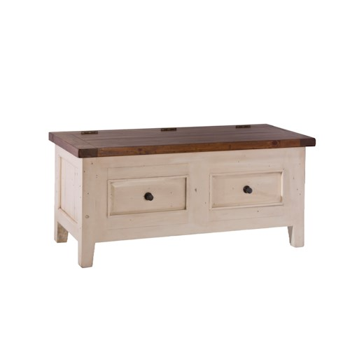 Morris Home Furnishings Tuscan Retreat Blanket Box with Lift Top and Faux Drawer Fronts