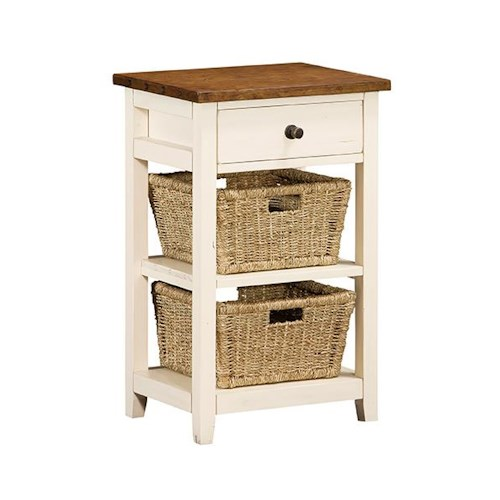 Morris Home Furnishings Tuscan Retreat Basket Stand with 2 Baskets and 1 Drawer