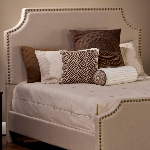 Hillsdale Upholstered Beds Dekland Queen Headboard and Rails with Nail Head Trim