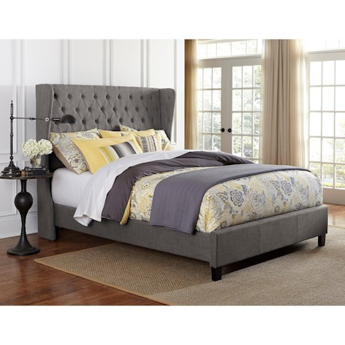 Hillsdale Upholstered Beds King Crescent Bed Set with Rails