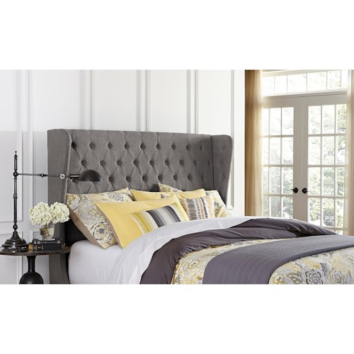 Hillsdale Upholstered Beds King Crescent Headboard with Rails