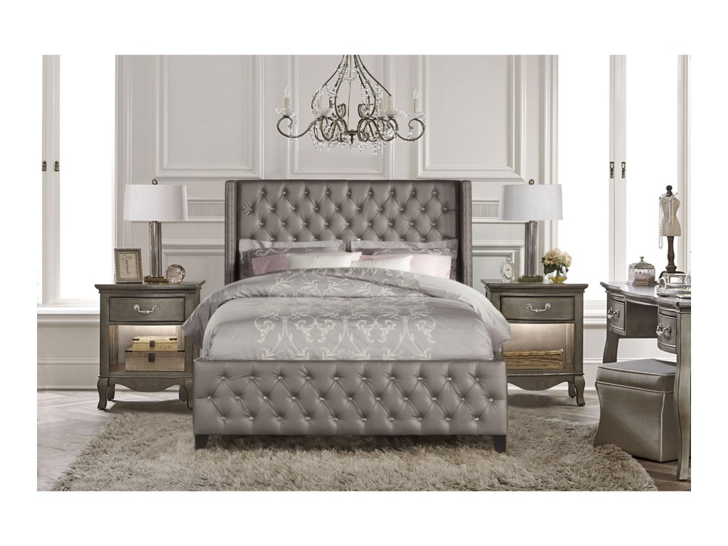 Hillsdale Upholstered Beds King Queen Bed Set with Rails ...
