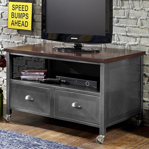 Morris Home Furnishings Urban Quarters Contemporary Metal Media Chest