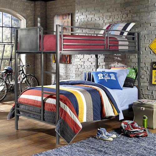 Morris Home Furnishings Urban Quarters Contemporary Metal Twin Bunk Bed