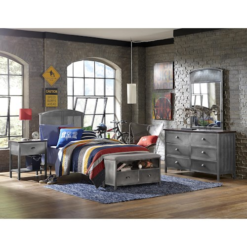 Hillsdale Urban Quarters Contemporary Four PC Full Bed Set with Footboard Bench